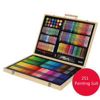 251 pcs Art Tools Painting Set for Kids Children Drawing Art markers Pen Crayons Oil pastels for Kids with Wooden Case