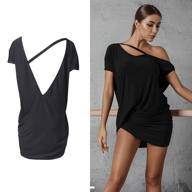 Black Latin Dance Top Women Cha Cha Ballroom Tango Salsa Samba Rumba Practice Dancing Wear Backless Training Outfit DC2629