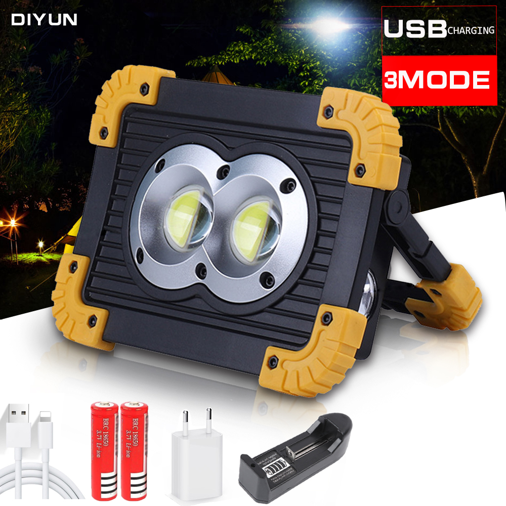 100W Portable LED Flashlight COB Work Light Floodlight Searchlight Waterproof USB Rechargeable Power Bank For Outdoor Lighting
