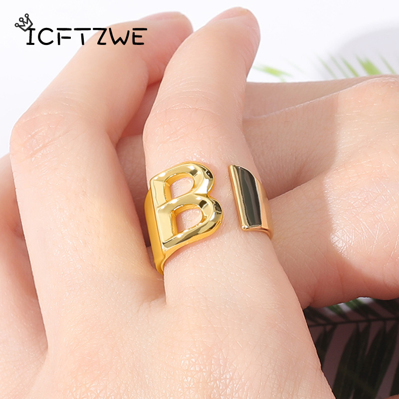 Fashion Adjustable Open Gold Initial Rings For Women Stainless Steel A-Z Letter Ring Ladies Meaningful Christmas Jewelry Gift