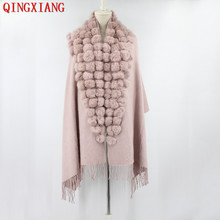 2019 Fashion Triangle Real Rabbit Fur Ball Shawl Winter Women Faux Cashmere Cape Cloak Lady Mother Gift casaco feminino