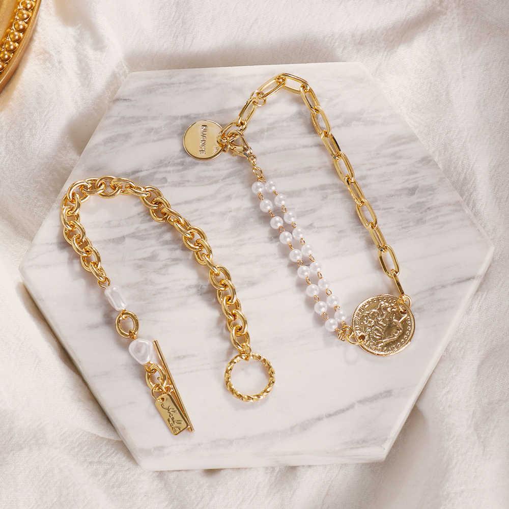 ファッションバロック不規則なブレスレットシックな模造真珠ゴールドメタルリンクチェーンブレスレット女性ガールサマーパーティー