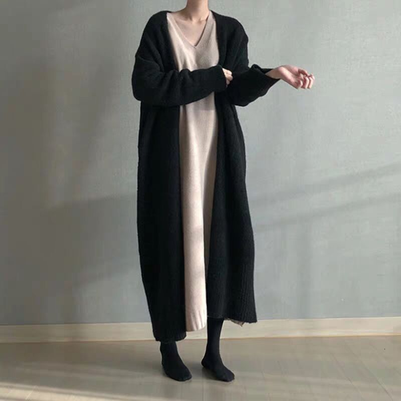 LANMREM 2020 Spring New Products Fashion Solid Color Loose Long Knee-length Cardigan Sweater Coat Female PB230