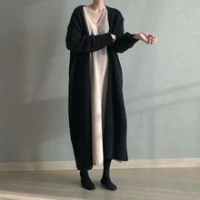 LANMREM 2020 Spring New Products Fashion Solid Color Loose Long Knee length Cardigan Sweater Coat Female PB230