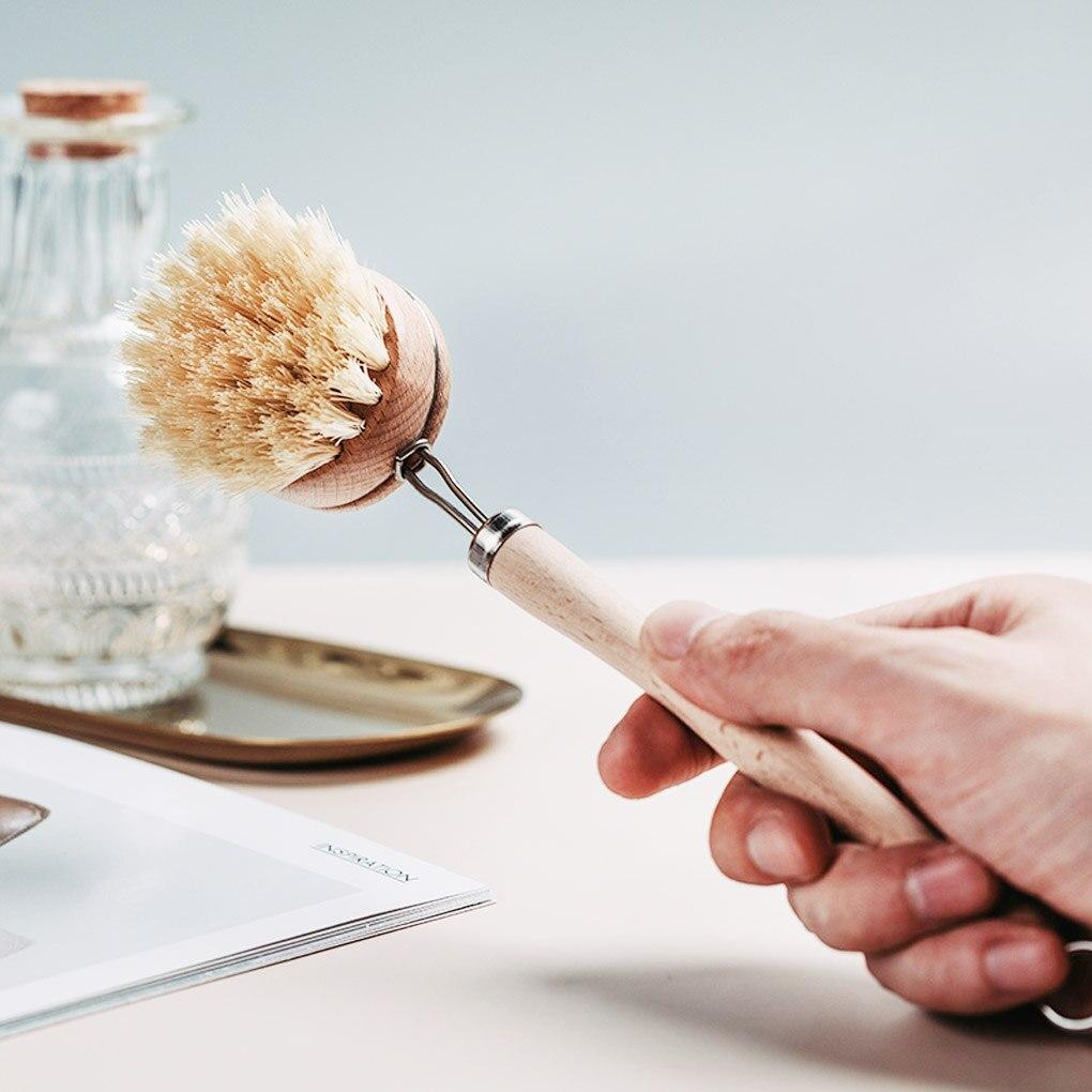 Щетка для мытья посуды из дерева, с длинной ручкой, из натурального дерева|Чистящие щетки|   | АлиЭкспресс