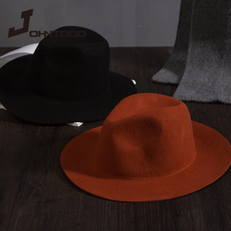 Retro classic felt jazz hat fedora hat with big brim Panama for women men black red top hat Ladies top hat imitation wool  cap 1