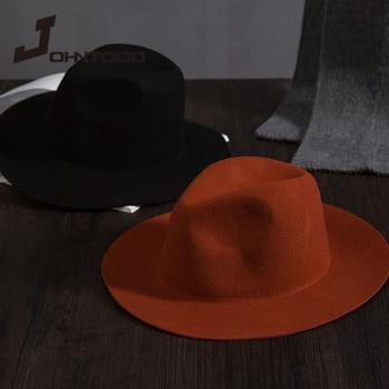 Retro classic felt jazz hat fedora hat with big brim Panama for women men black red top hat Ladies top hat imitation wool  cap женская шляпа от солнца other top hat 2015 wh0273
