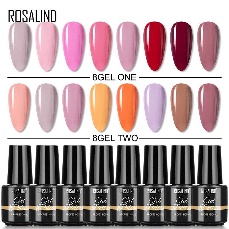 Набор гель-лаков для ногтей Rosalind набор полупостоянных УФ-гибридных лаков для маникюра базовый верхний слой гель для дизайна ногтей Набор лаков 2