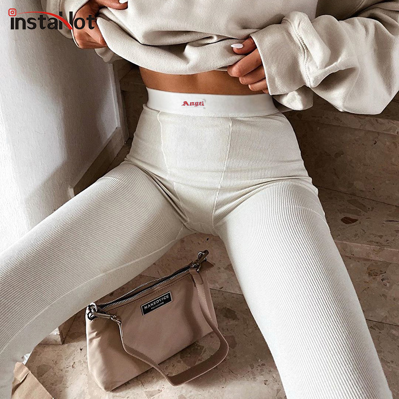 InstaHot women sweatpants skinny jogging letter embroidery pants casual summer streetwear trousers 2020 high waist solid pants