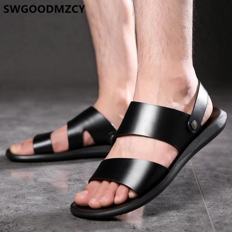 Mens Sandals Summer Leather Sandals Men Designer Shoes Men Outdoor Sandals Open Shoes Men Zapatos De Hombre Erkek Ayakkabi