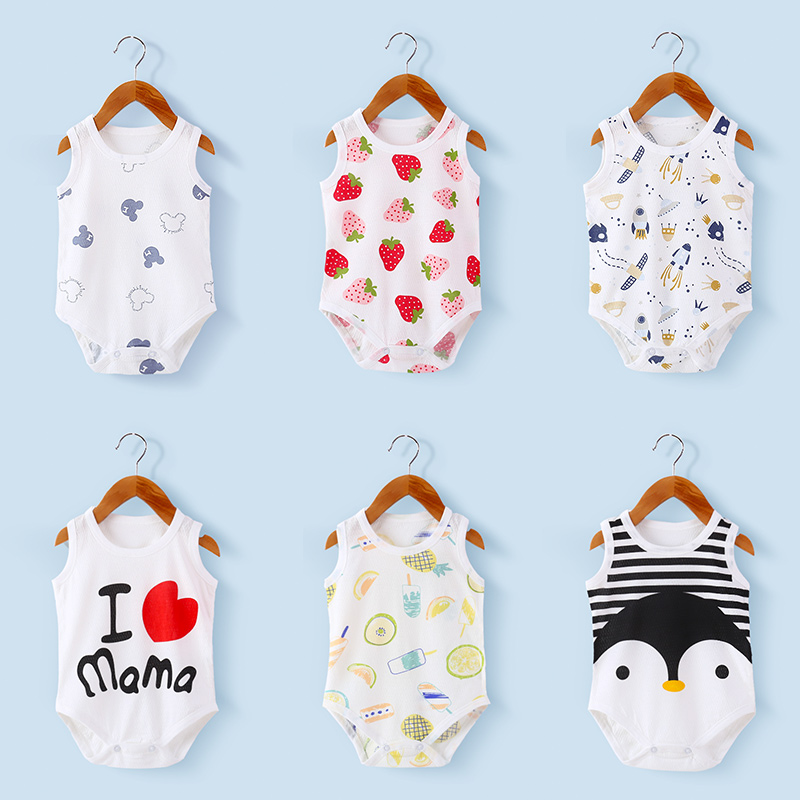 Baby Romper Set Baby Girl Boy Summer Clothes Unicorn Clothing Soft Light Cute Pattern Newborn Baby Cotton Triangle Robe Suits