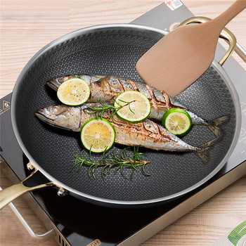 304 stainless steel kitchen wok non-stick pan household cooking pot Frying Pan Household Cooking Pot Kitchen Wok