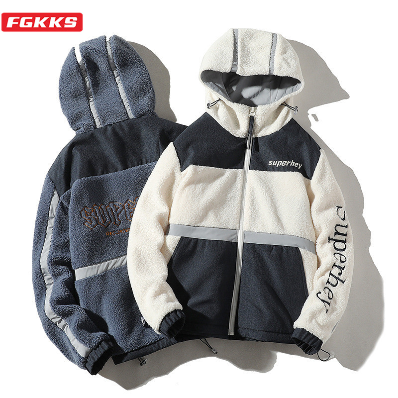 FGKKS Brand Men's Jackets Comfortable Fabric Men Warm Wash Jacket Fashion High Street Thick Hooded Patchwork Trend Jackets Male