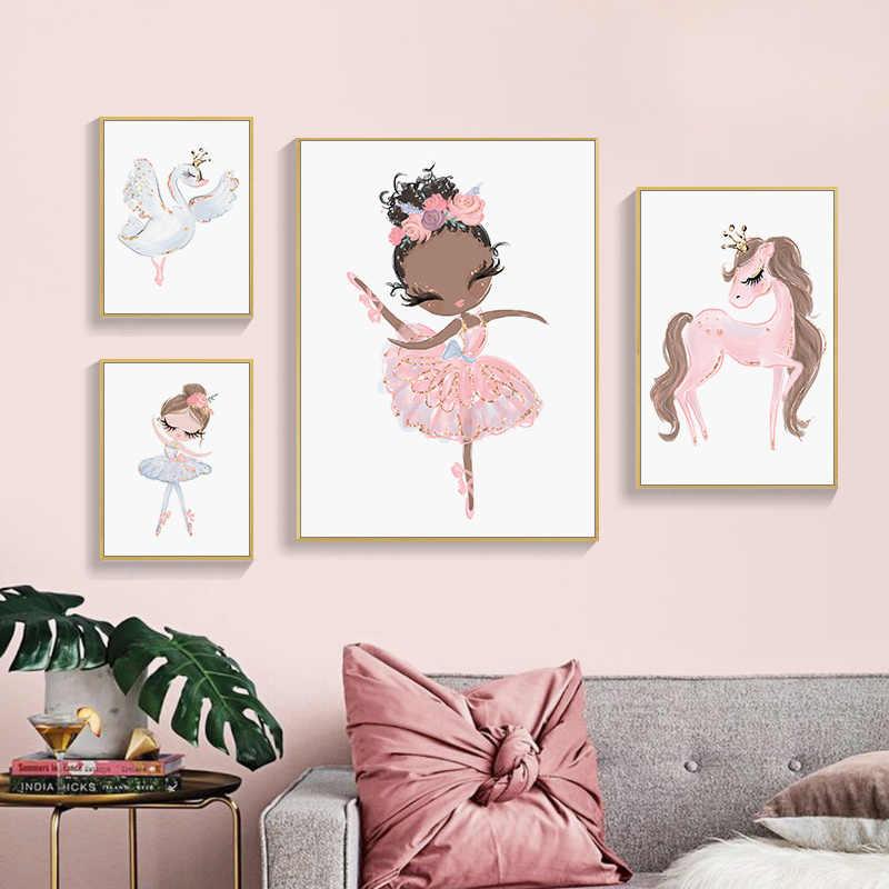 Suluboya pembe Unicorn Swan kız taç çiçek İskandinav posterler ve baskılar duvar sanatı tuval yağlıboya duvar resimleri çocuk odası dekor