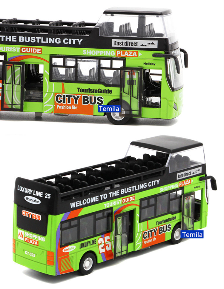 Electronic Sound & Light Double-decker Sightseeing Bus Car Alloy Model City Tour Bus With Open Door Collection Model Kids Gift