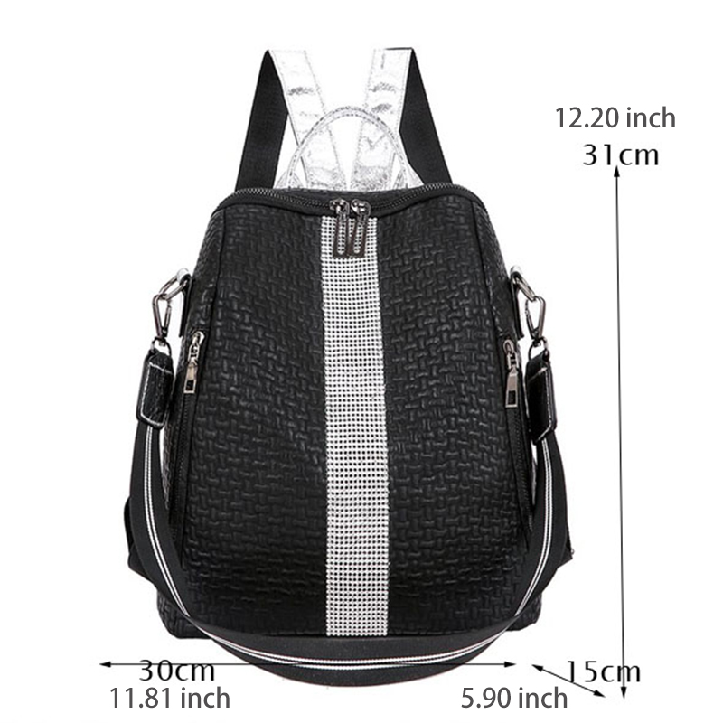 Image 2 - Europe And The United States Retro Soft Leather Sequins Backpack Women Women's Personality Lock Backpack Leisure Travel Mochila-in Backpacks from Luggage & Bags