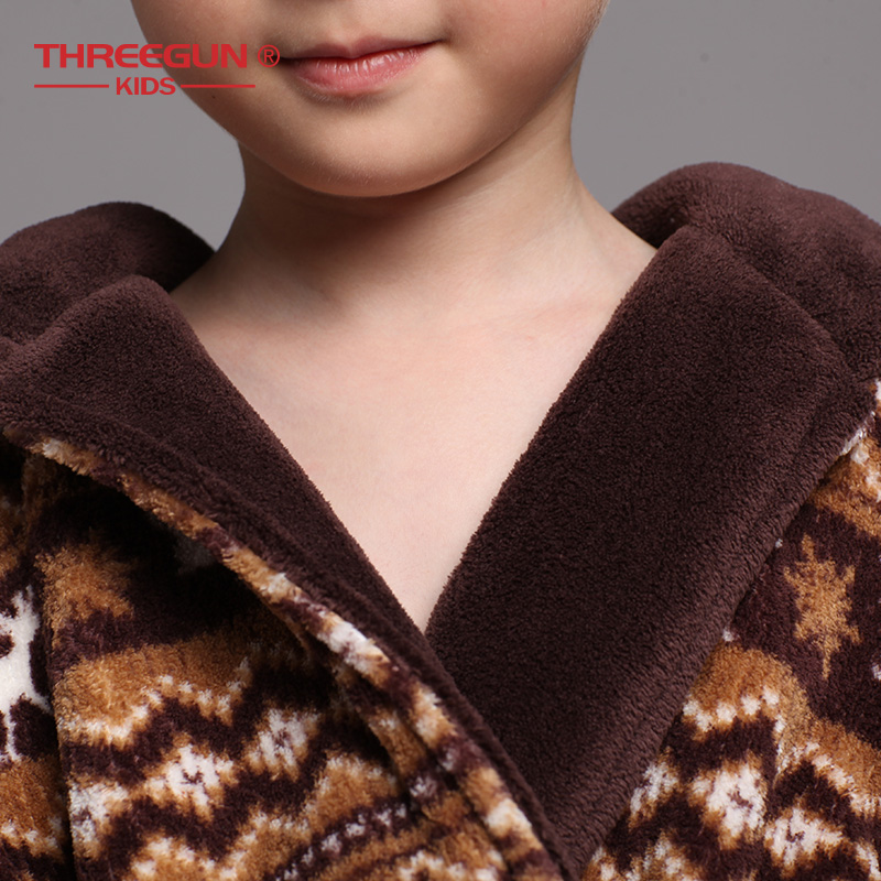 Image 5 - THREEGUN Kids Bathrobe Flannel Children Boys Brown Bath Robe  Winter Sleepwear 1 Robe   1 Pants Warm Pajamas 7 12 YearsRobes   -