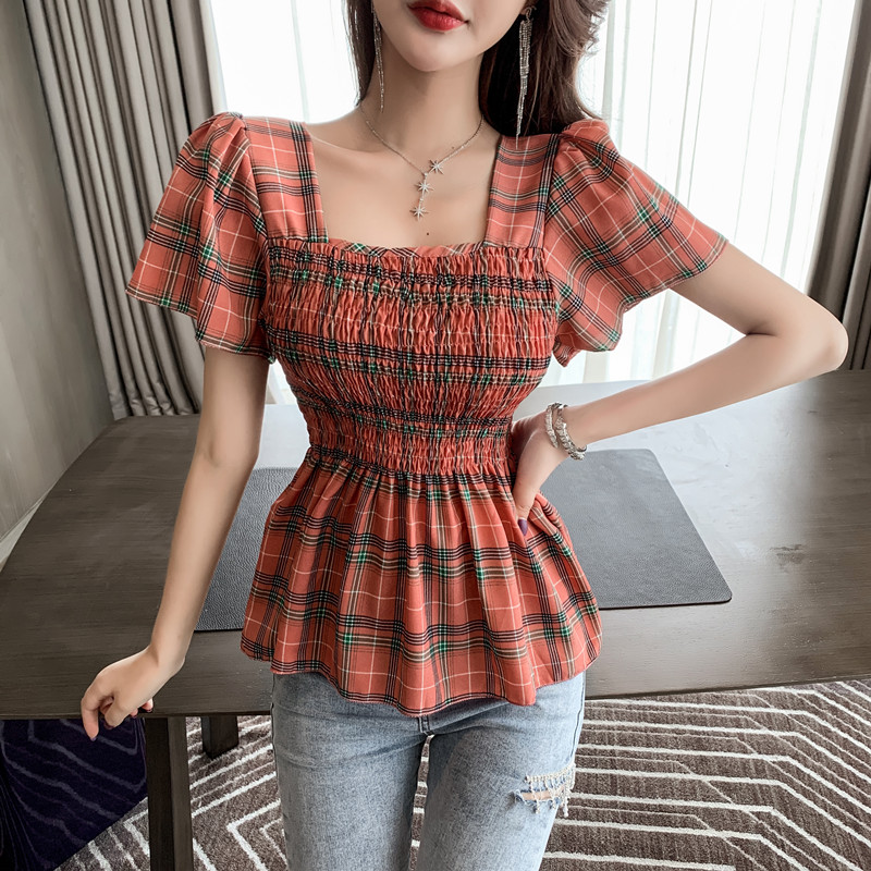 Plaid Shirt Summer Square Collar Stretchy Vintage Fit And Flare Blouses Women Chic Blouse Tops For Girls