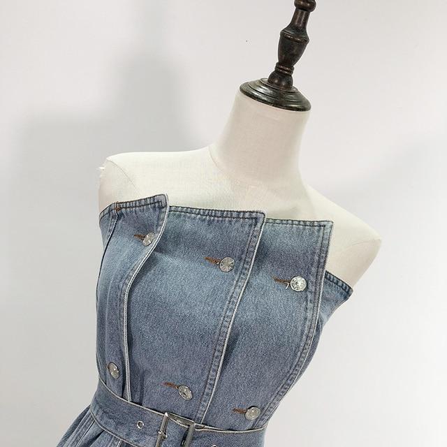 GALCAUR Irregular Denim Women's Vests Off Shoulder Sleeveless High Waist Sashes Tunic Vest For Female Sexy 2020 Fashion Clothes