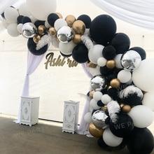 102pcs Silver 4D Black Balloons Arch Kit Metallic Gold Balloon Garland Wedding Birthday Party Decor Kids Baby Shower Globos