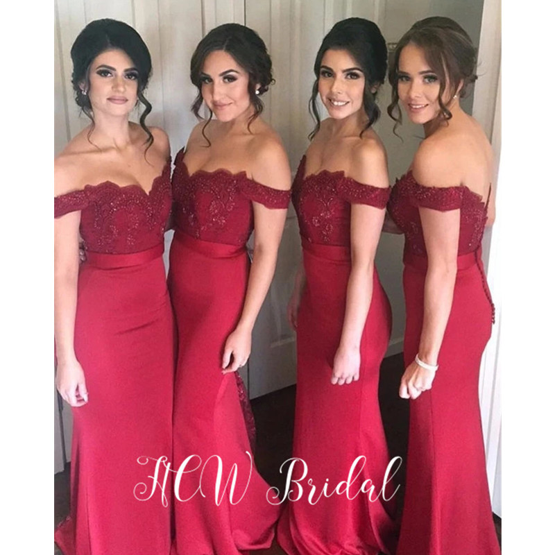 Wholesale Red Mermaid   Bridesmaid     Dresses   Off The Shoulder Beaded Lace Elastic Satin Long Maid Of Honor   Dress   Cheap 2019 New