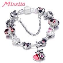 MISSITA Cute Mickey Series Bracelets Bangle with Love Heart Minnie Pendant Brand Bracelet for Women Anniversary Gift