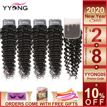 Yyong Hair 3/4 Brazilian Deep Wave Bundles With Closure 100% Remy Human Hair Weave Bundles With 4x4 Lace Closure Can Be Dyed(China)