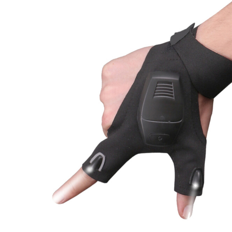 Black Outdoor <font><b>Cycling</b></font> Magic Strap Fingerless <font><b>Gloves</b></font> <font><b>LED</b></font> Flashlight Camping Hiking Rescue Tool Night Fishing Tools image