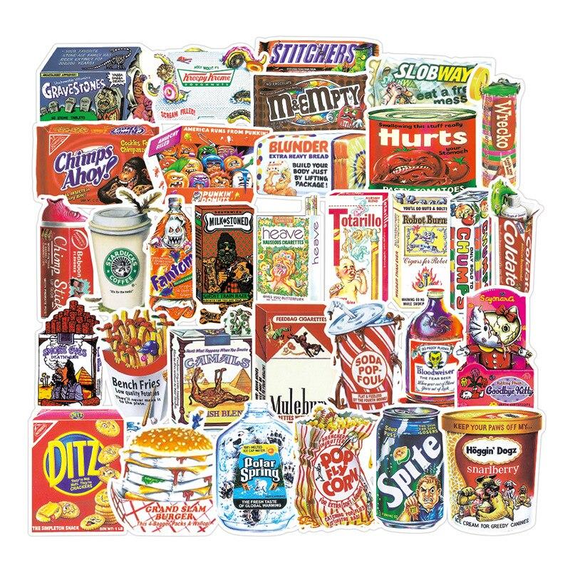 38pcs Cartoon Spoof Food Packaging Stickers Waterproof PVC Scrapbooking Luggage Laptop Skateboard Funny Cool Sticker Kids Toys