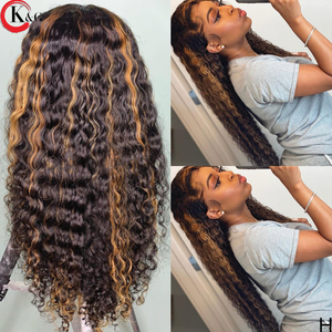 KUNGANG Colored 360 Curly Lace Front Human Hair Wigs With Baby Hair 250 Density Medium Ratio Non-Remy Wig(China)