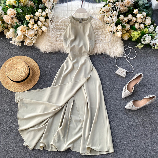 Fitaylor Summer Spring Elegant Knitted Halter Solid Sleeveless Vivid Color Women Female A-line High Waist Long Dress 4