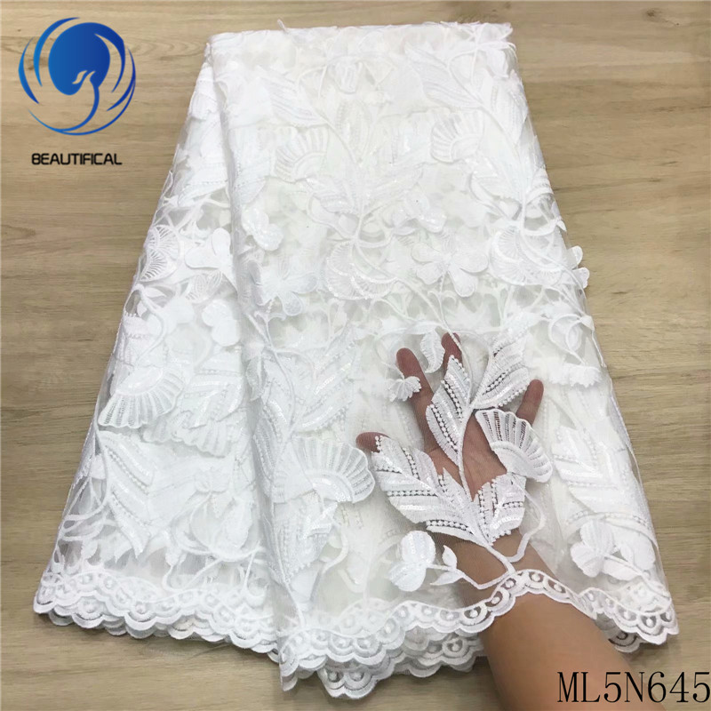 BEAUTIFICAL lace white dresses african sewing french lace embroidery tulle tissu nigerian wedding net laces 5 yards/lot ML5N645
