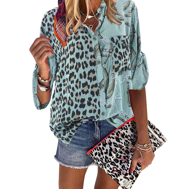 Women Blouse 2020 Sping  Tops  Turn-down Collar Long Sleeve Leopard Shirt Loose Plus Size Clothing For Women Ladies Blouses 6