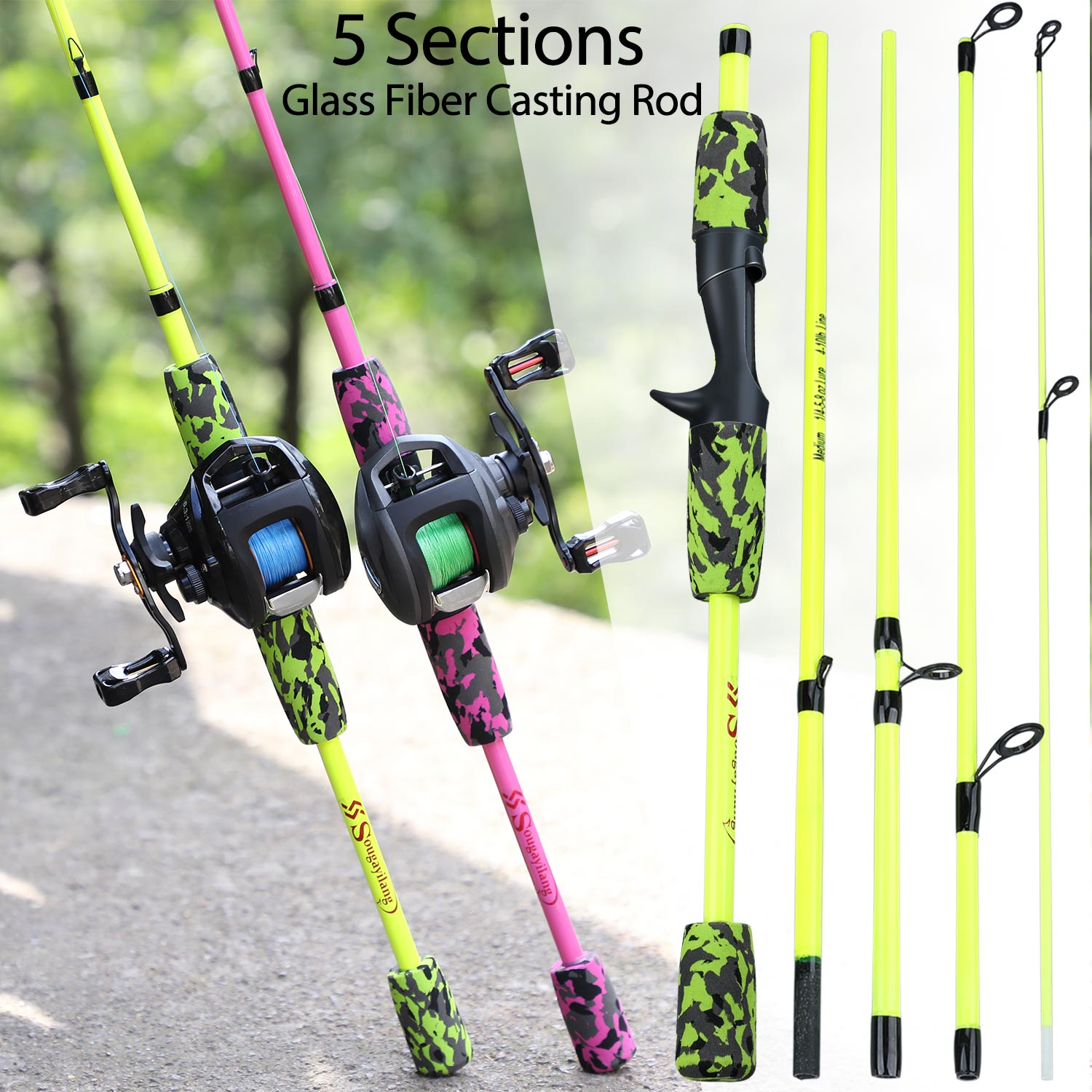 Sougayilang 5 Section Portable Travel Fishing Rod Ultralight Weight