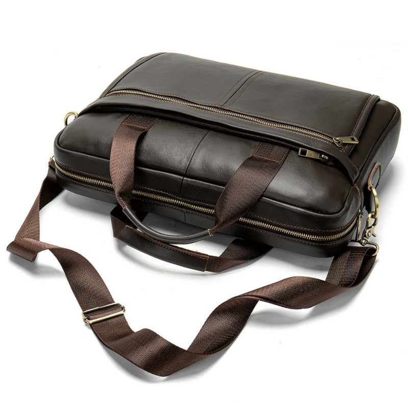1PCS  First Layer Cowhide Business Men's Portable Briefcase Simple Solid Color Diagonal Shoulder Bag Men Leather Bag