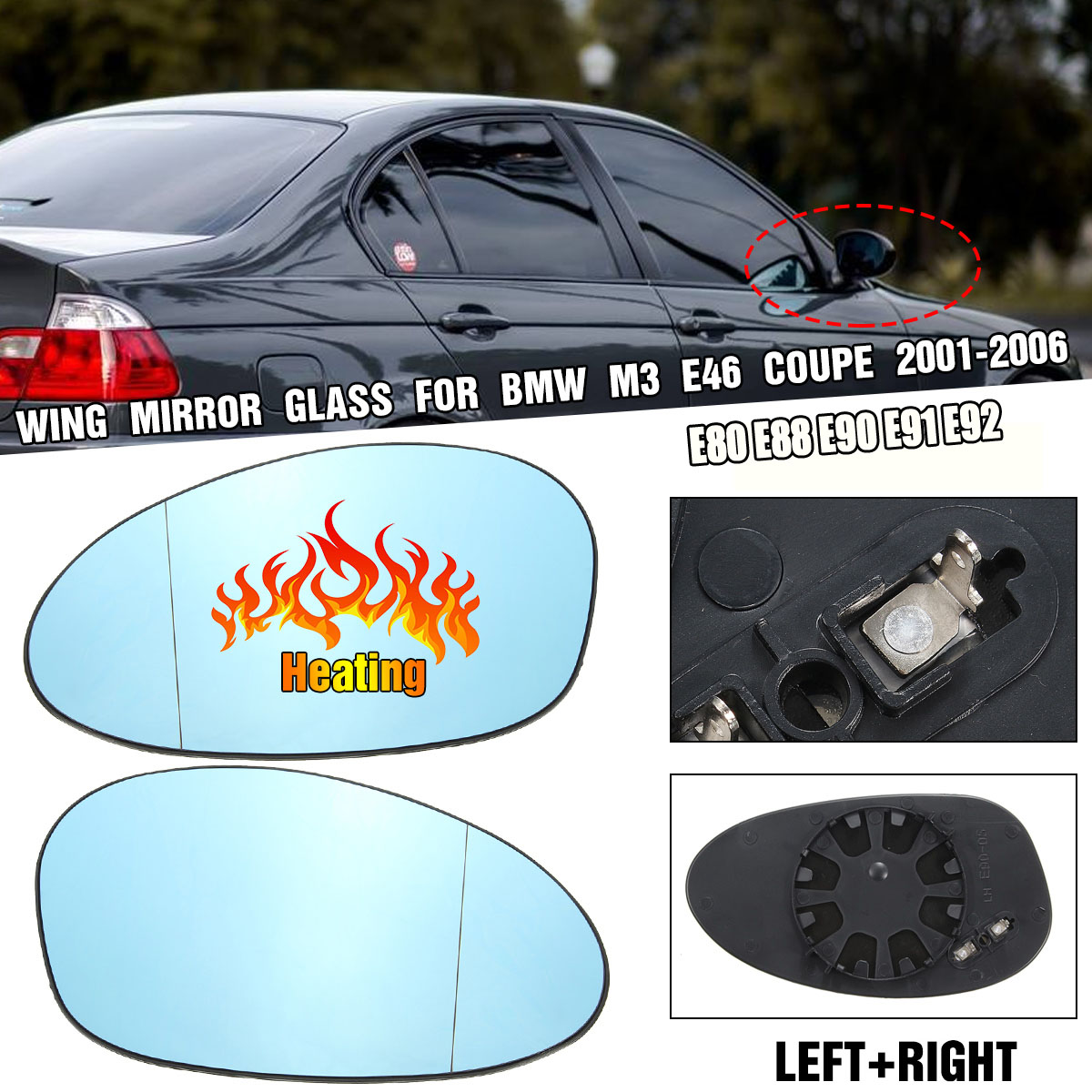 Left & Right Side Blue Heated Electric Wide Angle Wing Mirror Glass For BMW 3 Series M3 E46 2001-2006 E80 E88 E90 E91 E92 image