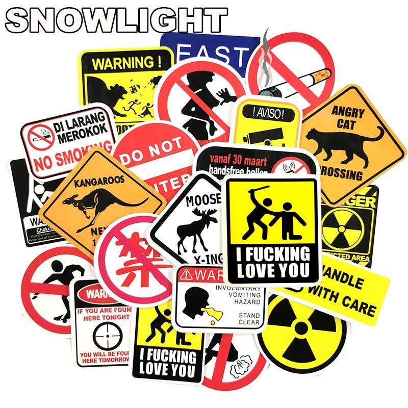 50pcs/Lot Sign Warning Skateboard Stickers For Luggage Waterproof Motorcycle Laptop Graffiti  Kawaii Kids Toys Stickers