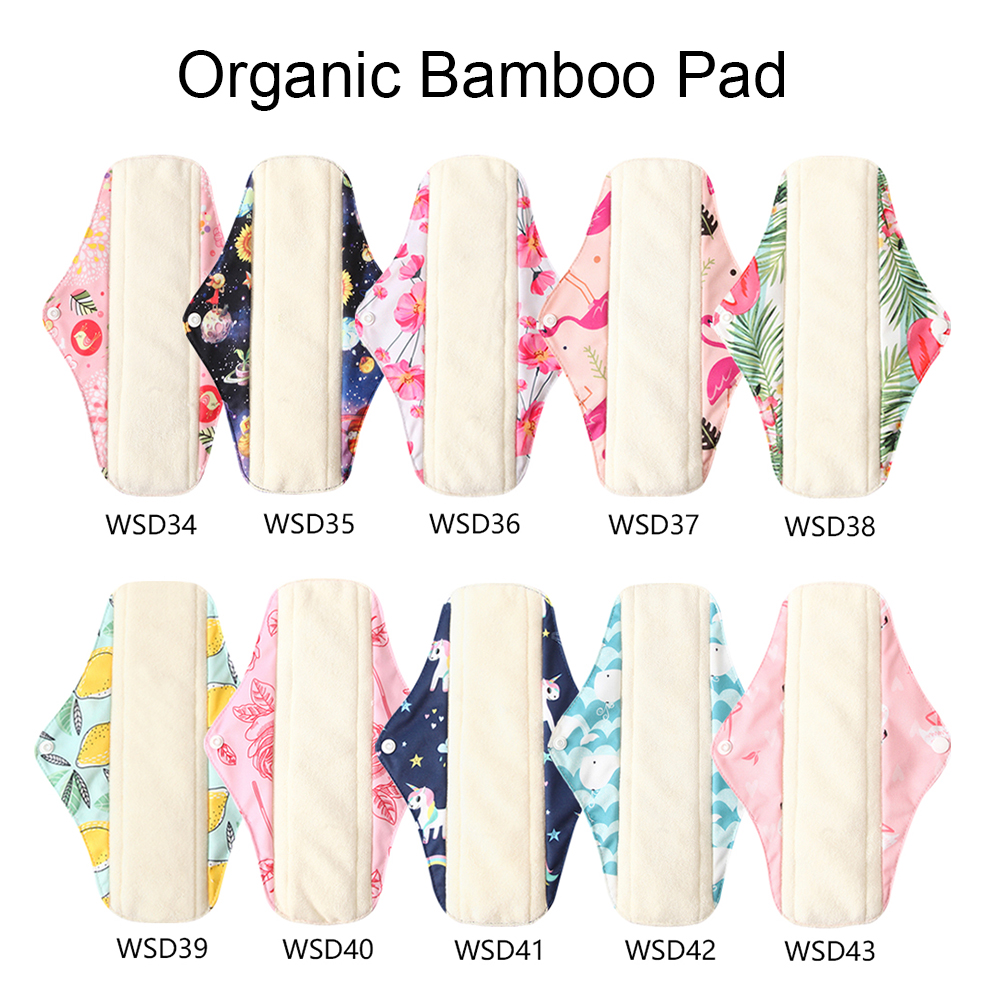 Ohbabyka 6pcs Menstrual Pads Washable Sanitary Pads Bamboo Cloth Pads Reusable Waterproof Panty Liners and 1pc Mini Wet Bag 2