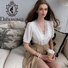 Dabuwawa Elegant White V Neck Solid Lace Cutout Blouse Women Tops Short Sleeve B