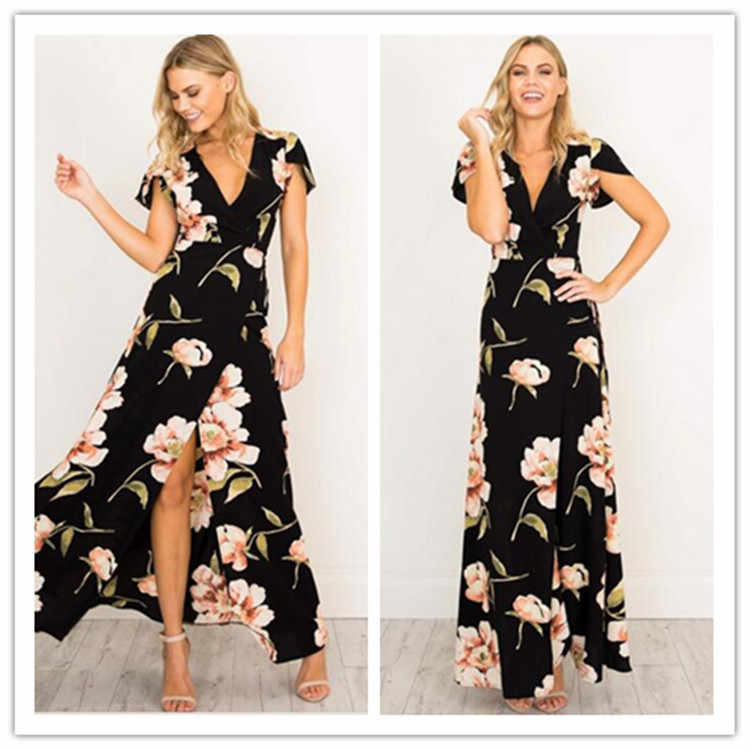 Dress Women Summer Dresses Pass New Split Hot Style v-neck Printed Dress Vintage Plus Size Dresses Vestidos BLK6256