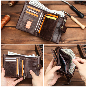 Image 3 - CONTACTS 100% Genuine Leather Wallet Men Bifold Wallets RFID Blocking Coin Purse Zipper Walet Card Holder Small Pocket Carteira