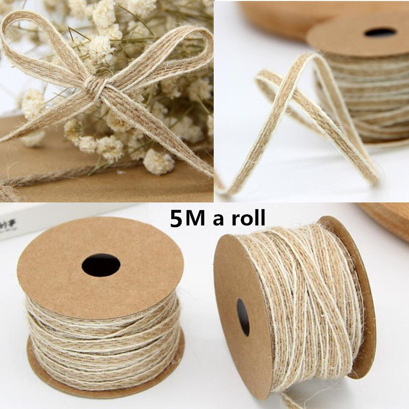 5M/Roll Width 0.5cm Jute Burlap Rolls Hessian Ribbon With Lace Vintage Rustic Wedding DecorationDIYOrnament Party Wedding Decor