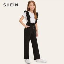 SHEIN Kiddie/черные однотонные брюки на пуговицах, возможность носить с брюками с рюшами на бретелях, детские штаны г., Осенние прямые длинные штаны для подростков