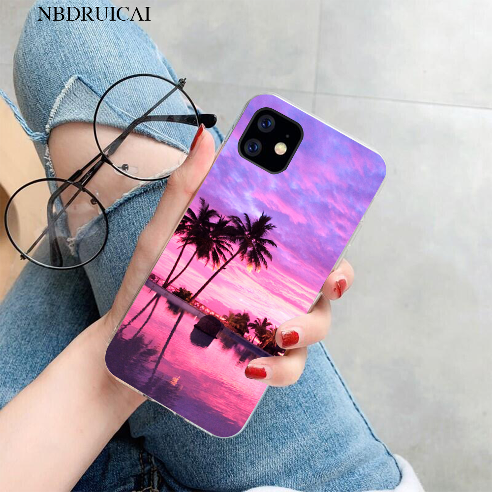 Nbdruicai Bãi Biển Mùa Hè Cảnh Lúc Hoàng Hôn Trên Biển Cây Cọ Ốp Lưng Điện Thoại Iphone 11 Pro Xs Max 8 7 6 6S 6S Plus X 5 5S SE XR Case