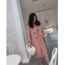 MISHOW 2019 autumn winter woolen coat fashion causal women turndown collar mid-length thick pink coat MX18D9659(China)