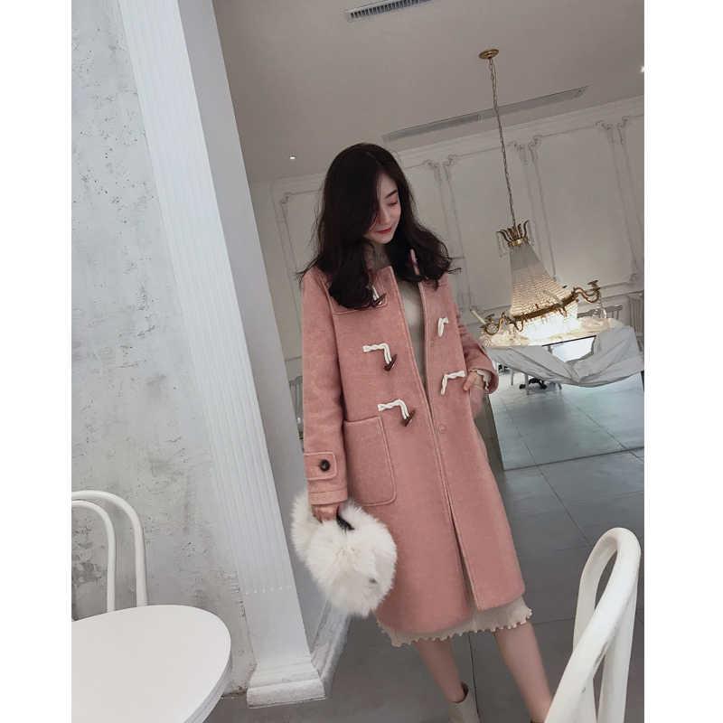 Mishow 2019 Gugur Musim Dingin Wol Mantel Fashion Kausal Wanita Turndown Kerah Panjang Tebal Berwarna Merah Muda Mantel MX18D9659