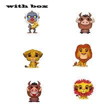 O rei leão simba luau pumba mufasa com caixa pop vinil figuras de ação coleção modelo brinquedos para crianças presente natal