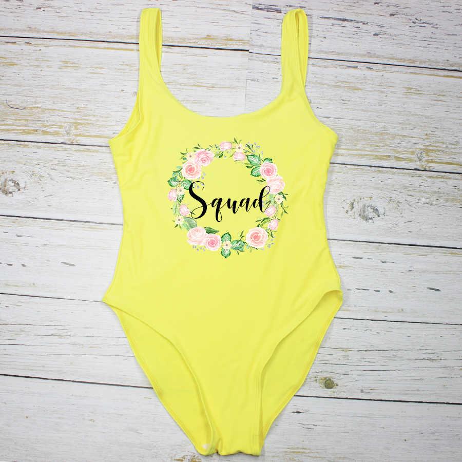 14 farben Badeanzug Braut & Squad Badeanzüge Pool Hochzeit Party Feier Personalisierte der Ehre Brautjungfer Swimwears