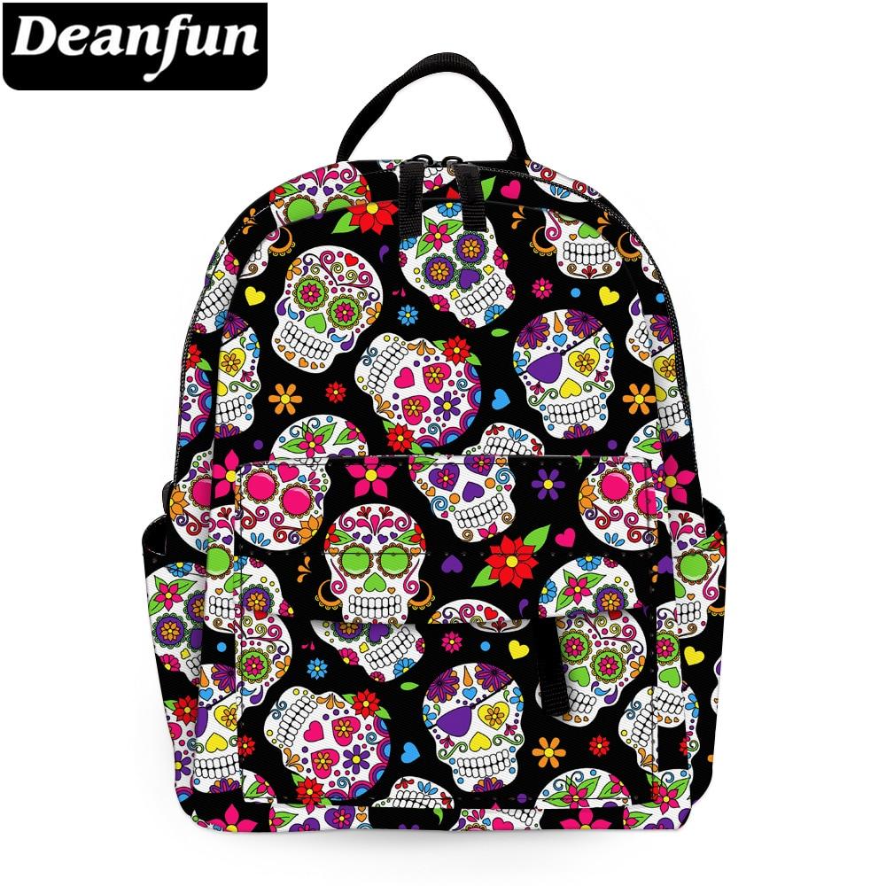 Deanfun Mini Backpack For Girls Colorful Skulls Printed Purse Backpack For Women Kids Backpack MNSB-22