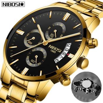2020 NIBOSI Men Watches Top Brand Luxury Famous Men's Fashion Casual Gold Dress Watch Military Quartz Watches Relogio Masculino